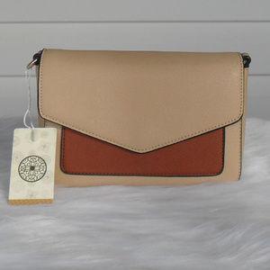 Handbags - Two Tone Tan Vegan Leather Shoulder Handbag